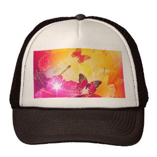 Flores y butterflys coloridos impresionantes gorras de camionero