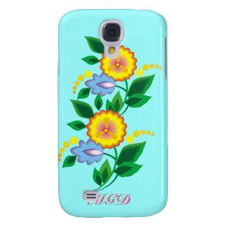 Flores y caja amarillas del monograma iphone3
