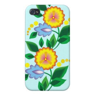 Flores y caja amarillas del monograma iphone4 iPhone 4 cárcasa