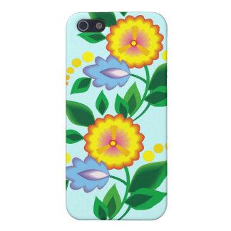 Flores y caja amarillas del monograma iphone4 iPhone 5 carcasa