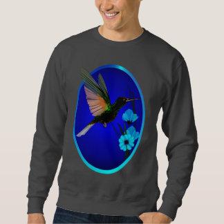 Flores y camisetas azules del óvalo del colibrí