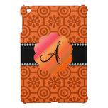 Flores y círculos retros anaranjados del monograma iPad mini funda