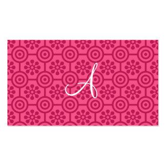 Flores y círculos retros rosados del monograma tarjetas de visita