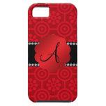 Flores y círculos rojos retros del monograma iPhone 5 Case-Mate fundas