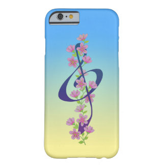 Flores y Clef agudo Funda Para iPhone 6 Barely There