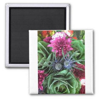 Flores y coles imán cuadrado