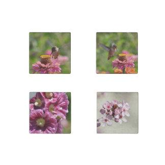 Flores y colibríes imán de piedra