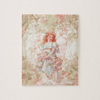 Flores y collage del vintage del ángel rompecabeza con fotos