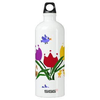 Flores y conejito del tulipán, patos, y Bluebird