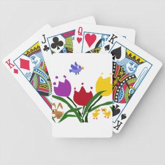 Flores y conejito del tulipán, patos, y Bluebird Barajas De Cartas