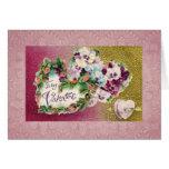 Flores y corazones del cordón tarjeta de felicitación