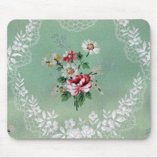 Flores y cordón Mousepad del vintage