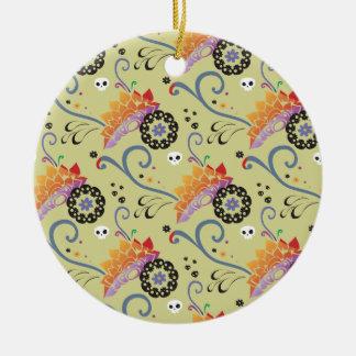 Flores y cráneos coloridos de loto ornamento para reyes magos