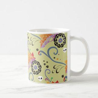 Flores y cráneos coloridos de loto tazas de café