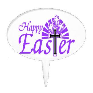 Flores y cruz felices de Pascua Decoraciones De Tartas