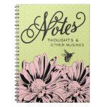 Flores y cuaderno modernos retros de las notas de