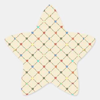 Flores y cuadrado multicolores. Modelo geométrico Pegatina En Forma De Estrella