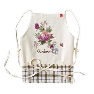Flores y delantal del jardín de la mariposa delantal zazzle HEART