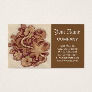 Flores y estrella elegantes del bordado tarjeta de negocios