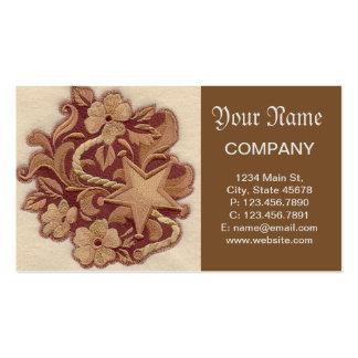 Flores y estrella elegantes del bordado tarjetas de visita