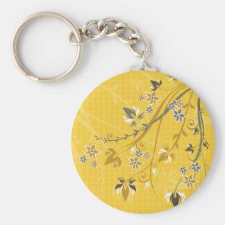 Flores y Filagree amarillos Llaveros Personalizados