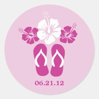 Flores y flips-flopes del hibisco pegatinas redondas