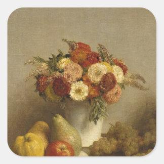 Flores y fruta, 1865 pegatina cuadrada