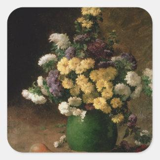 Flores y fruta, 1880 calcomania cuadrada personalizada