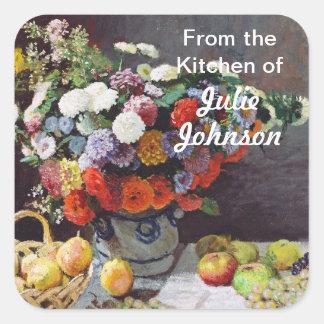 Flores y fruta de Claude Monet Pegatina Cuadrada