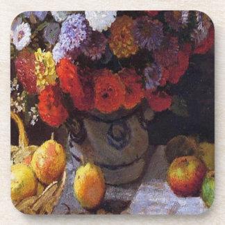 Flores y fruta posavasos de bebida