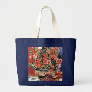 Flores y gatos - arte impresionista - Renoir Bolsa De Tela Grande