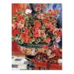 Flores y gatos - arte impresionista - Renoir Postal