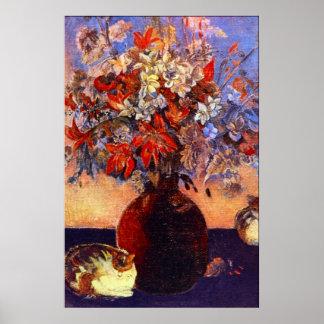 Flores y gatos de Eugène Enrique Paul Gauguin Impresiones