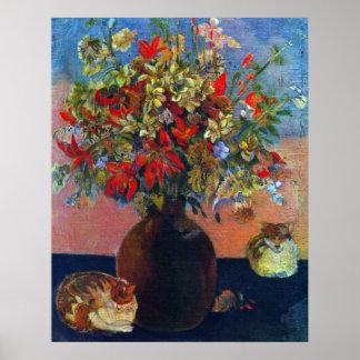 Flores y gatos de Eugène Enrique Paul Gauguin Póster