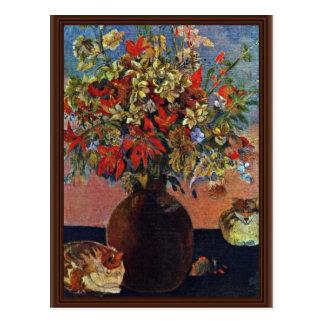 Flores y gatos de Gauguin Paul (la mejor calidad) Tarjeta Postal
