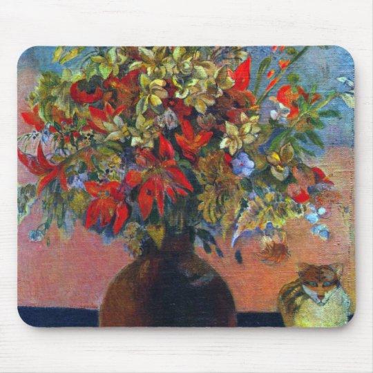 Flores y gatos por Gauguin, bella arte del vintage Tapete De Ratones