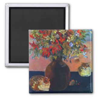 Flores y gatos por Gauguin impresionismo del Imán