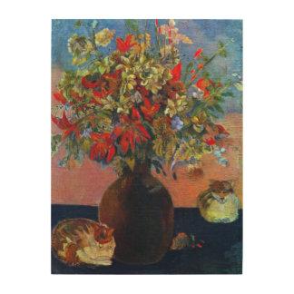 Flores y gatos por Gauguin, impresionismo del Impresión En Madera