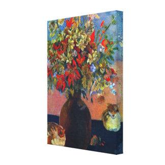 Flores y gatos por Gauguin, impresionismo del Impresion De Lienzo