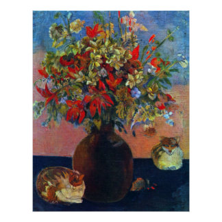 Flores y gatos por Gauguin, impresionismo del Póster