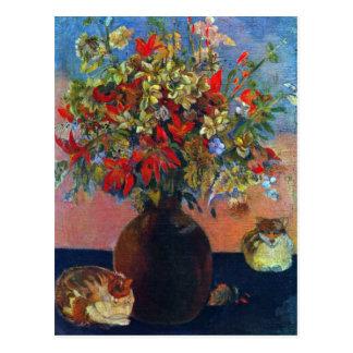 Flores y gatos por Gauguin impresionismo del Postales