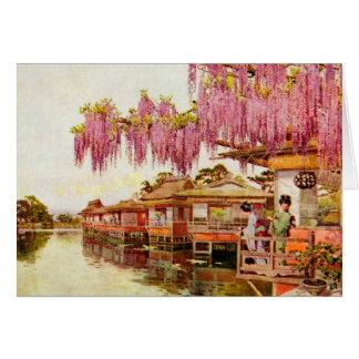 Flores y geishas rosados tarjeta de felicitación