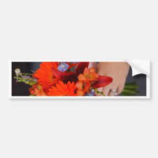Flores y Hans Pegatina Para Auto