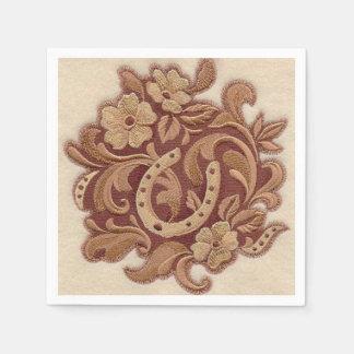 Flores y herraduras hermosas del bordado servilletas desechables