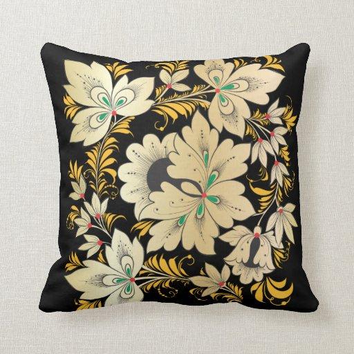 Flores y hojas - arte popular ruso 8 almohadas