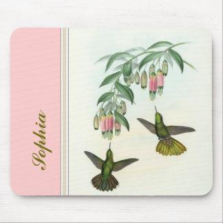 Flores y hojas de los colibríes de Gould Alfombrilla De Ratón