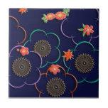 Flores y hojas del ciruelo azul marino azulejo ceramica