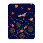 Flores y hojas del ciruelo azul marino imán