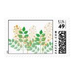 Flores y hojas del jardín sello