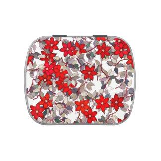 Flores y hojas rojas de los gris plateados jarrones de caramelos